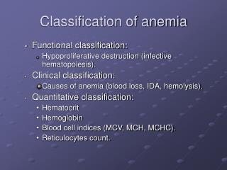 Classification of anemia