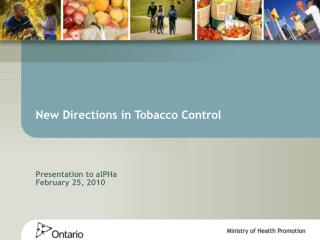 New Directions in Tobacco Control