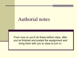 Authorial notes
