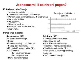 Jednosmerni ili asinhroni pogon? Kriterijumi odlučivanja: Ukupne investicije.