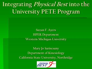 Integrating  Physical Best  into the University PETE Program