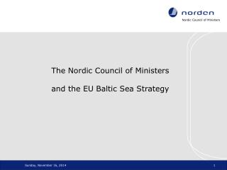 The Nordic Council of Ministers  and the EU Baltic Sea Strategy