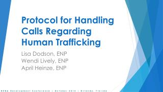 Protocol for Handling Calls Regarding Human Trafficking