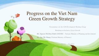 Progress on the Viet Nam Green Growth Strategy