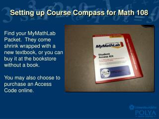 Setting up Course Compass for Math 108