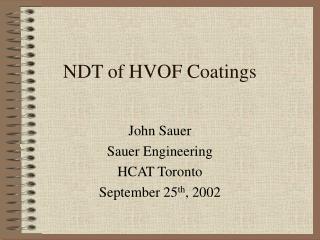 NDT of HVOF Coatings
