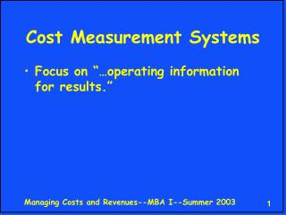 Cost Measurement Systems