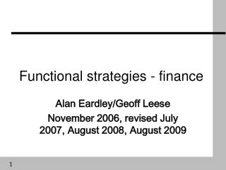 Functional strategies - finance
