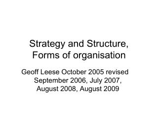 Strategy and Structure,  Forms of organisation