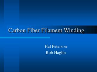 Carbon Fiber Filament Winding