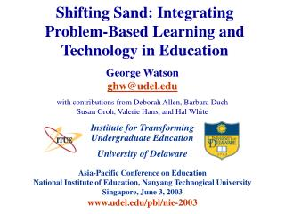 Shifting Sand: Integrating Problem-Based Learning and Technology in Education