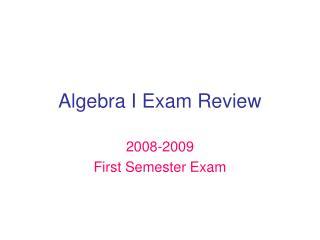 Algebra I Exam Review