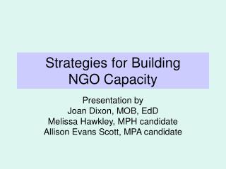 Strategies for Building  NGO Capacity