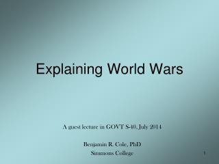 Explaining World Wars