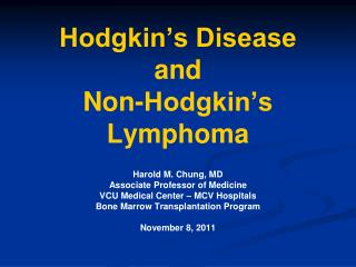 Hodgkin's Disease and Non-Hodgkin's Lymphoma