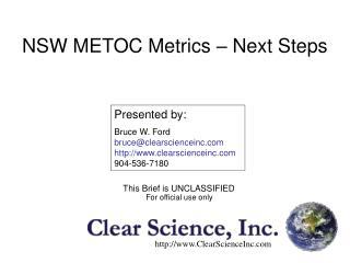 NSW METOC Metrics – Next Steps