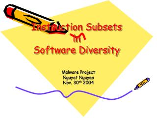 Instruction Subsets  in  Software Diversity