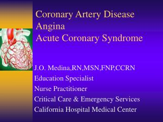 Coronary Artery Disease Angina Acute Coronary Syndrome