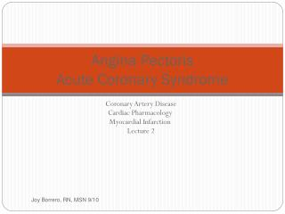 Angina Pectoris Acute Coronary Syndrome