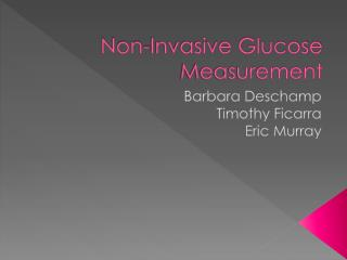 Non-Invasive Glucose Measurement