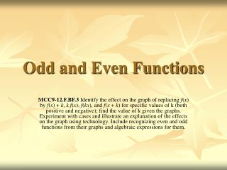 Odd and Even Functions