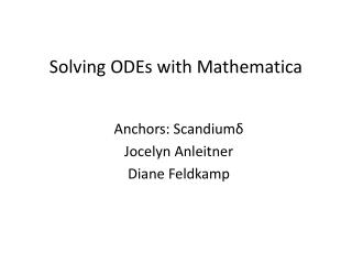 Solving ODEs with Mathematica