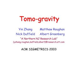 Tomo-gravity