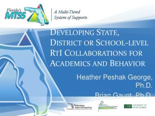 Developing State, District or School-level RtI Collaborations for Academics and Behavior
