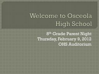 Welcome to Osceola  High School
