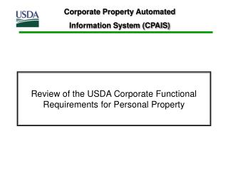 Review of the USDA Corporate Functional Requirements for Personal Property