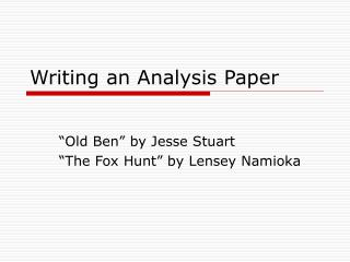 Writing an Analysis Paper