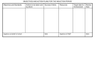 OBJECTIVES AND ACTION PLANS FOR THE INDUCTION PERIOD