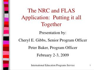The NRC and FLAS Application:  Putting it all Together