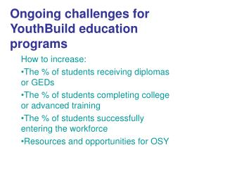 Ongoing challenges for YouthBuild education programs