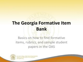 The Georgia Formative Item Bank