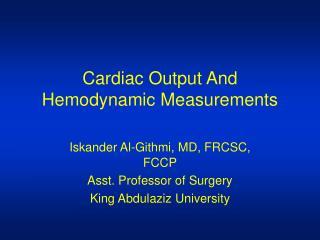 Cardiac Output And Hemodynamic Measurements