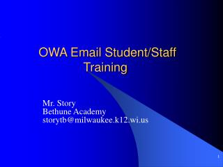 OWA Email Student/Staff 				Training