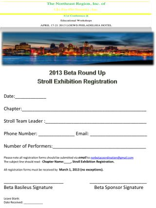 2013 Beta Round Up  Stroll Exhibition Registration