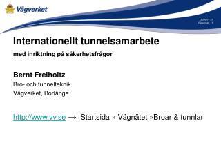 Internationellt tunnelsamarbete med inriktning på säkerhetsfrågor