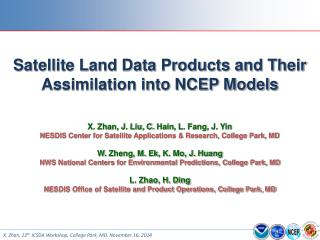 Satellite Land Data Products and Their Assimilation into NCEP Models