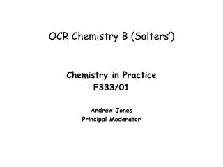 OCR Chemistry B (Salters')