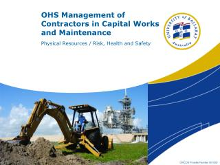 OHS Management of Contractors in Capital Works and Maintenance