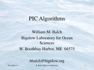 PIC Algorithms