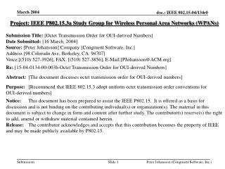 Project: IEEE P802.15.3a Study Group for Wireless Personal Area Networks (WPANs)