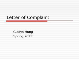 Letter of Complaint