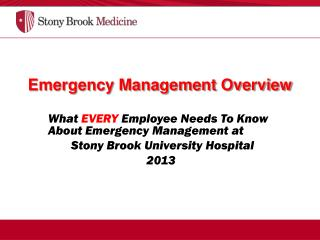 Emergency Management Overview