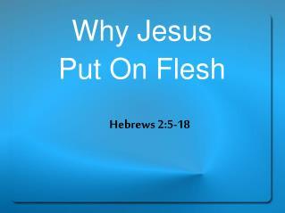 Why Jesus  Put On Flesh