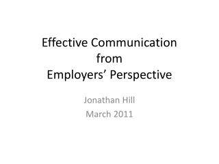 Effective Communication from Employers' Perspective