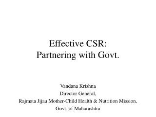 Effective CSR: Partnering with Govt.