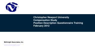 Christopher Newport University Compensation Study